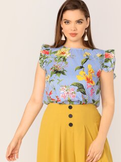 Plus Ruffle Armhole Striped and Floral Print Top