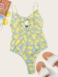 Lemon Print Cutout Tie Front Cami Bodysuit