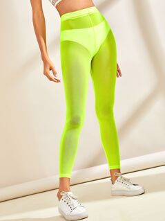 Neon Lime Sheer Leggings Without Pantie