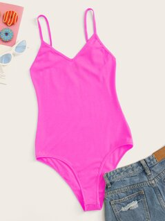 Neon Pink Skinny Cami Bodysuit