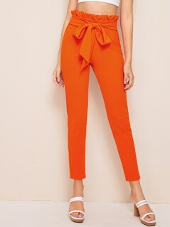 Neon Orange Paperbag Waist Belt Skinny Pants