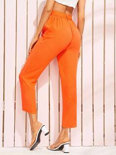 Neon Orange Pleated Detail Belted Tapered Pants
