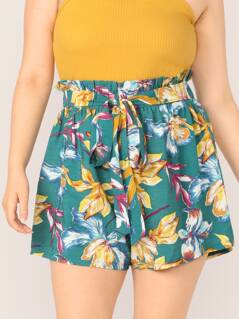 Plus Paperbag Waist Belted Floral Shorts