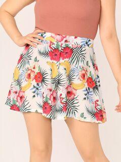Plus Floral Print Wide Leg Shorts