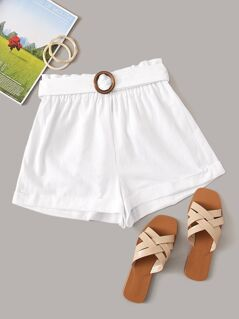 Paperbag Waist Cuffed Shorts With O-ring Belt