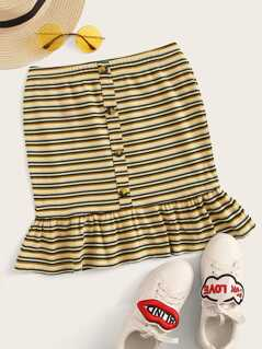 Button Detail Ruffle Hem Rib-knit Striped Skirt