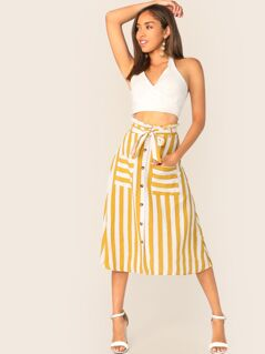 Paperbag Waist Button Front Patch Pocket Belted Skirt