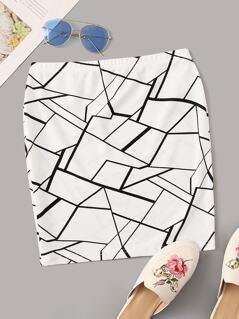 Geo Print Bodycon Skirt