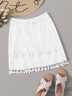 Layered Tassel Trim Skirt