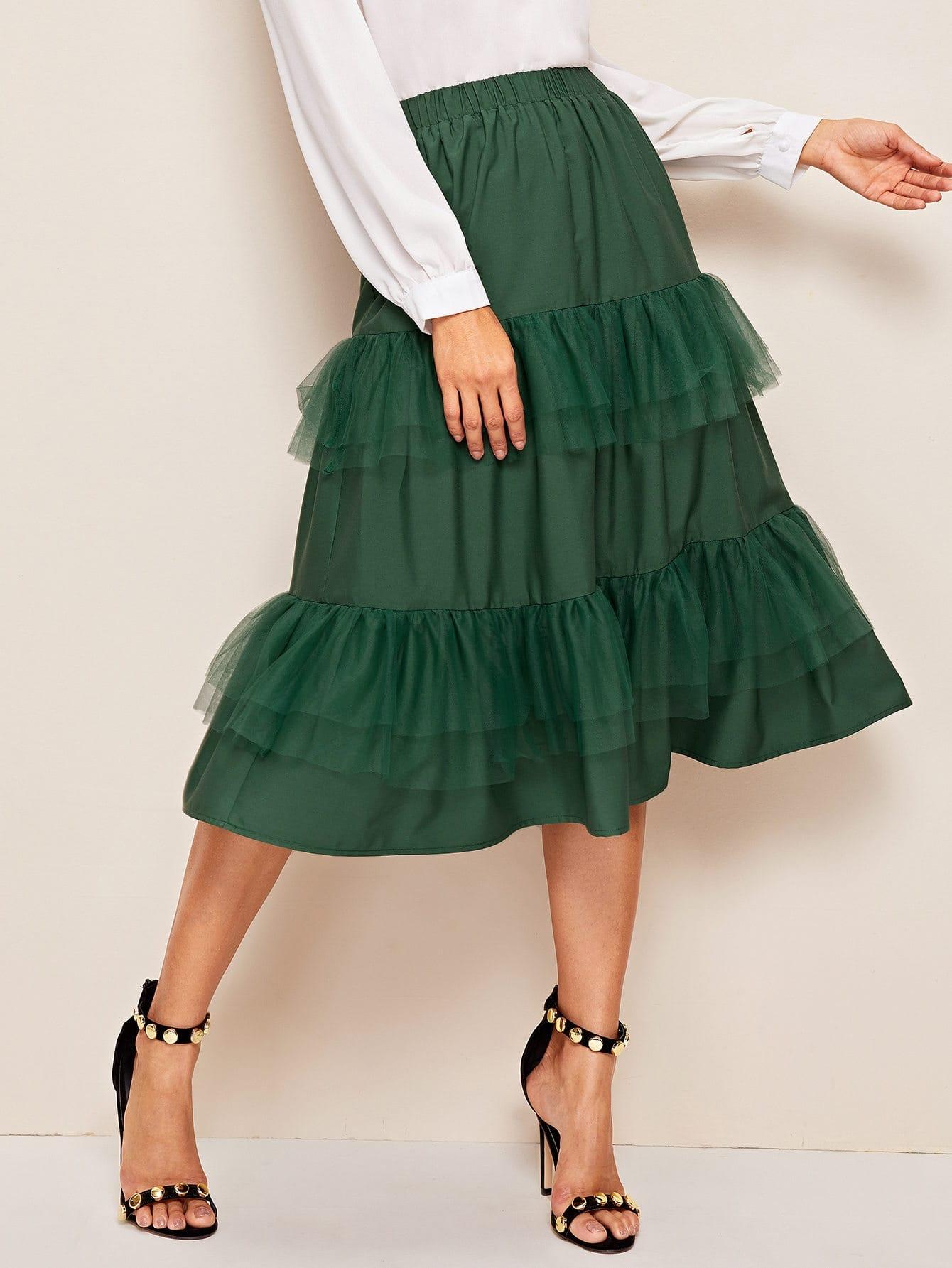 Layered Mesh Ruffle Trim Elastic Waist Skirt