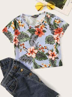 Tropical Print Crop Tee