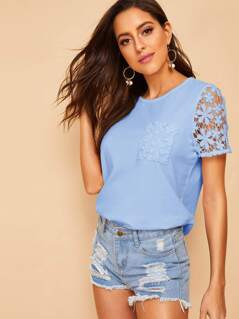 Guipure Lace Trim Pocket Patched Tee