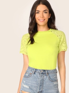 Neon Lime Embroidered Eyelet Raglan Sleeve Top
