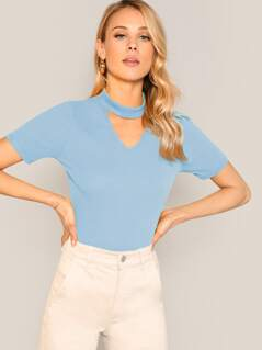Choker Neck Rib-knit Tee