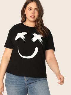 Plus Smile Print Top