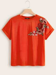 Plus Neon Orange Cuffed Floral Embroidery Top