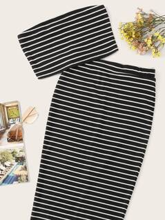 Rib-knit Striped Bandeau Crop Top & Split Skirt Set
