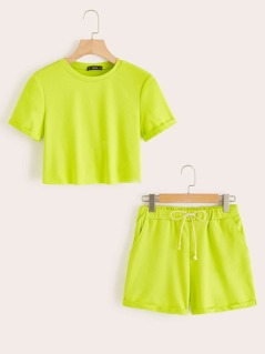 Neon Lime Cuffed Top & Slant Pocket Shorts Set