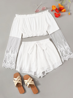 Embroidered Mesh Sleeve Bardot Top and Shorts Set