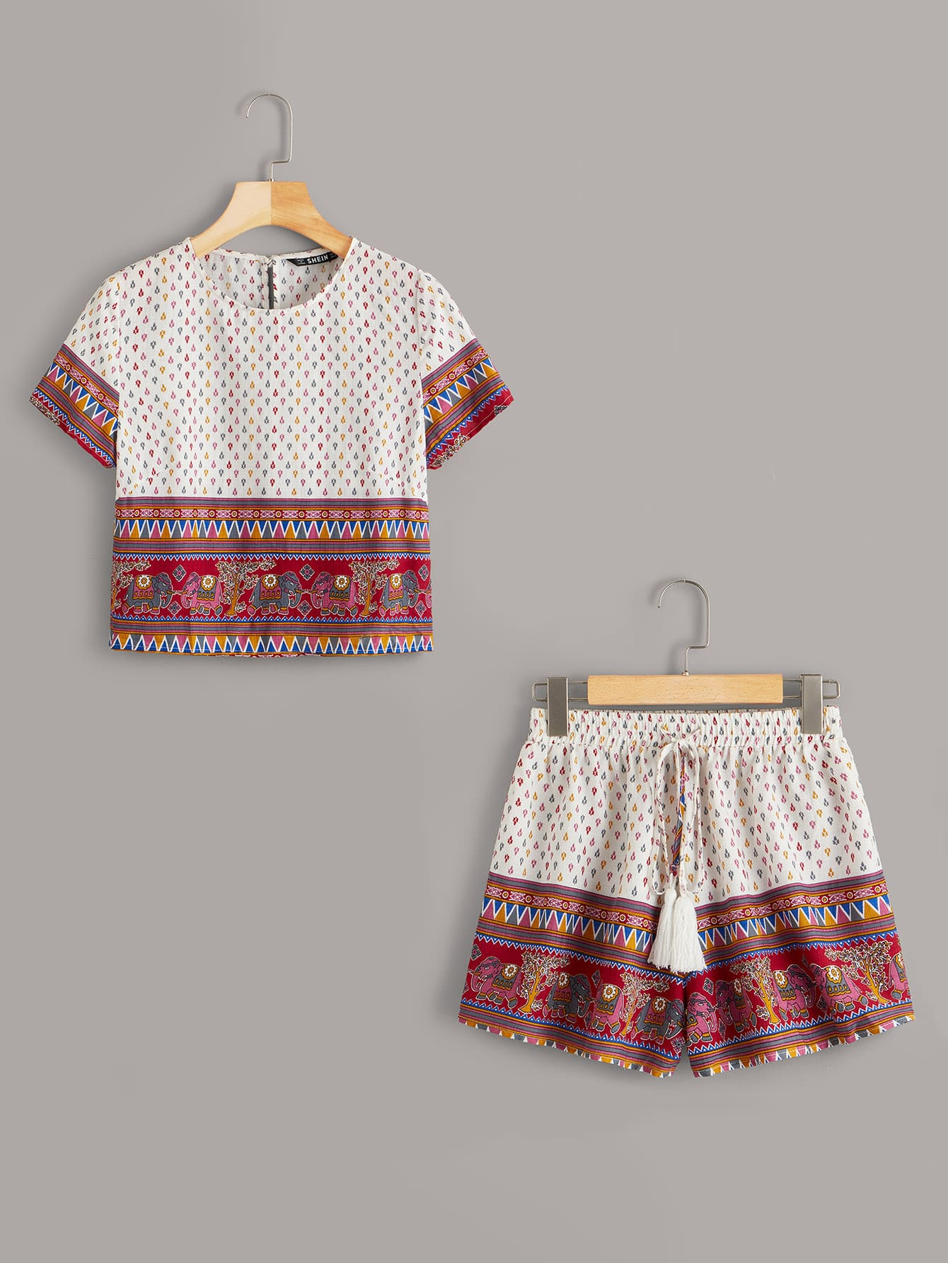 Tribal Print Top & Tassel Drawstring Waist Shorts Set