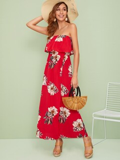 Foldover Front Floral Print Wrap Tube Dress