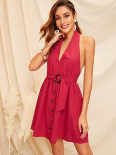 Open Back Button Front Buckle Belted Halter Dress
