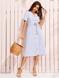 Button Through Striped Dress With Buckle Belt