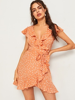 Ruffle Trim Tie Side Wrap Dress