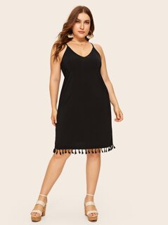 Plus Tassel Hem Cami Dress