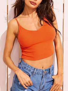 Neon Orange Rib-knit Cami Top