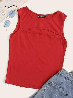 Cut Out Front Rib-knit Tank Top