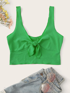 Knotted Front Rib-knit Crop Tank Top