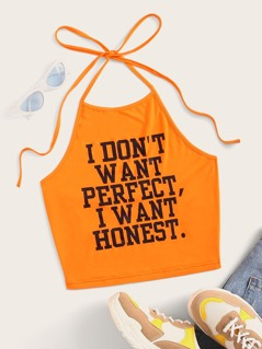 Neon Orange Slogan Print Halter Crop Top
