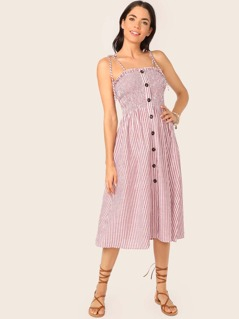 Shirred Tie Shoulder Button Up Striped Dress