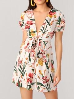 Deep V-neck Floral Print Belted Dress