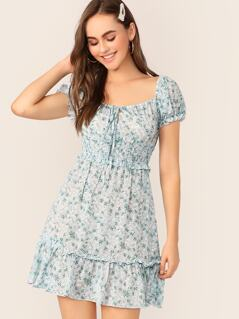 Tie Neck Shirred Waist Ditsy Floral Tea Dress