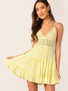 Bow Tie Back Crochet Bodice Frilled Cami Dress