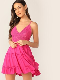 Neon Pink Bow Tie Back Crochet Bodice Cami Dress