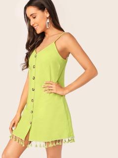 Button Up Tassel Hem Cami Dress