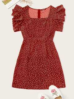 Polka Dot Gathered Sleeve Dress