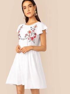 Ruffle Trim Embroidered Yoke Dress