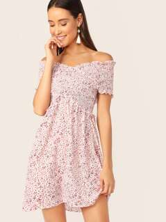 Shirred Cross Wrap Bodice Ditsy Floral Bardot Dress