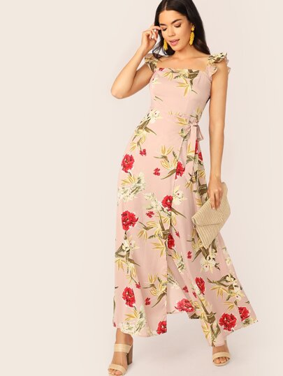 b14b6c2135180 فستان زهري مطوي بربطة ذاتية وحمالات مكشكش