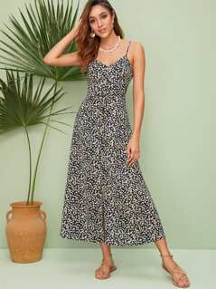 Single Breasted Ditsy Floral Cami Dress