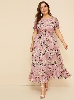 Plus Ruffle Hem Floral Print Belted Dress