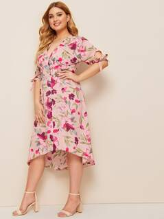 Plus Button Front Floral Print Tied Cuff Midi Dress