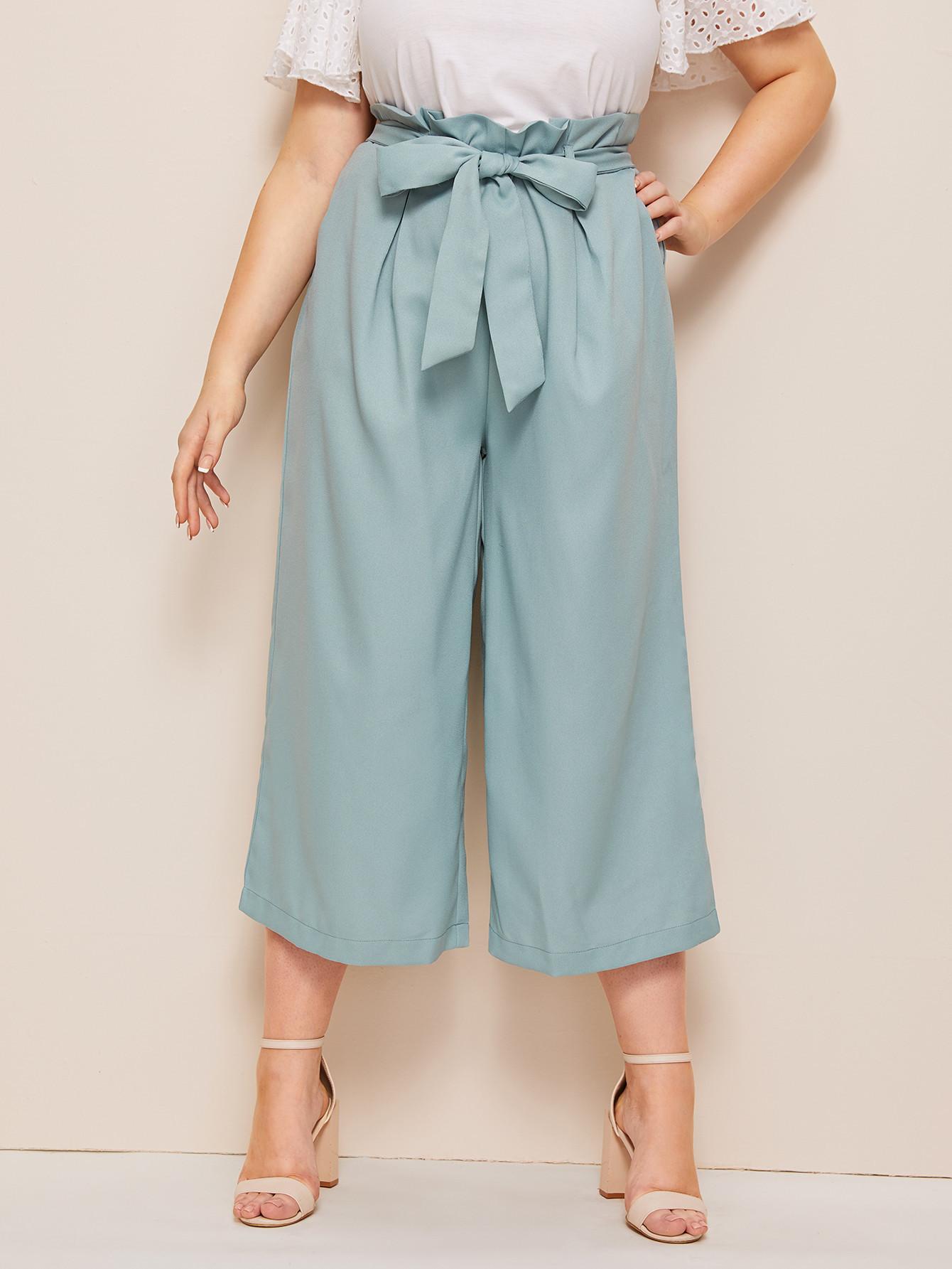Однотонные брюки с присборенной талией размера плюм