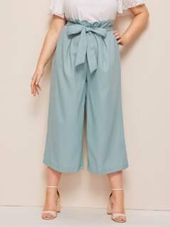 Plus Solid Paperbag Waist Capris Pants
