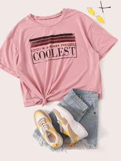 Plus Rolled Cuff Letter & Striped Print Tee