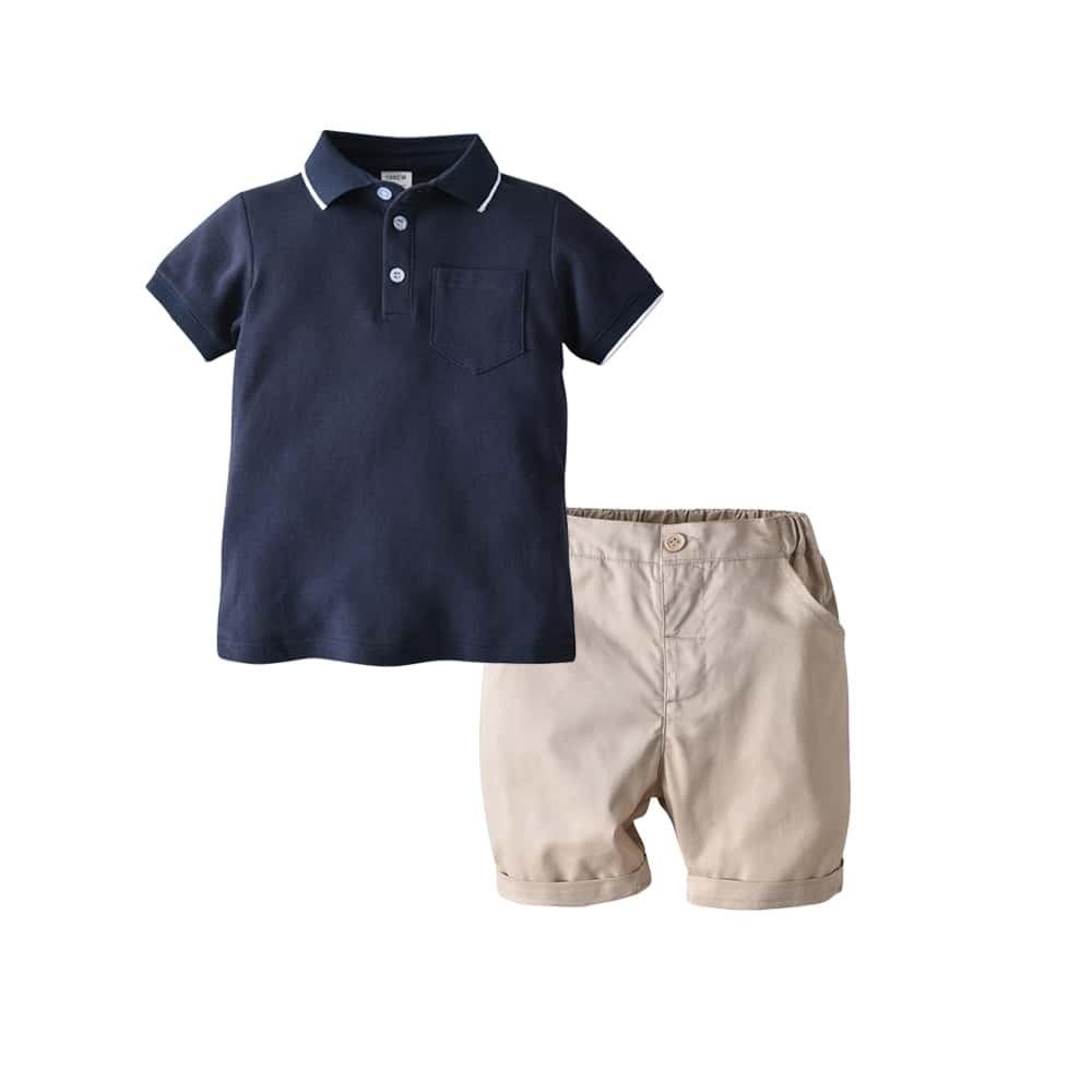 Рубашка-поло с контрастной отделкой и шорты для маленьких мальчиков от SHEIN